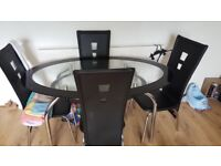 Black Glass Oval Dinner Table(4 Chairs)