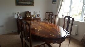 Italian (Sorrento) eco-sourced wooden dining table & 6 chairs.