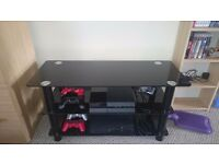 TV Stand 42in Black Glass Slimline - near new!