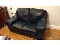 2 seater navy blue Ikea leather sofa