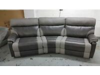 NEW ScS Ralph 4 Seater Manual Recliner Curved Sofa & Footstool **CAN DELIVER**