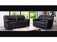 New Black 3 Seater + 2 Seater faux leather sofa