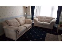 Sofa - (2 and 3 seat lounge Suite) cream with wood trim, amazing condition - cash offers