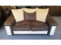 GREAT CONDITION! 2/3 seater cream and brown fabric sofa