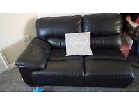 Black leather coner sofa