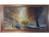 Signed Charles Evison big OIL ON CANVAS 90 X 50 CM £45 only!!!