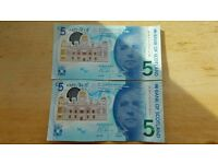 New rare Bank if Scotland five pounds notes AA