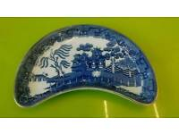 Antqiue kidney shaped trinket dish, blue and white transfer, registration lozenge, 24 Dec 1868