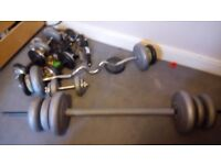 Barbell, Ez Bar and Two Dumbbells, max 116kg (A wide variety of options). Also a lifting bench.