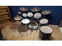 Birch Drum kit, Pearl, Sabian AAX, Zildjian, acoustic, cow bell,