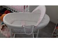 Clair de lune pink and white mosses basket