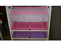 Girls bedroom white/pink/lilac book/toy tidy unit