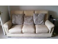 Cream Leather Suite for Sale
