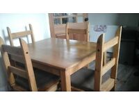 Dining Table and Four Chairs, Mexican Pine
