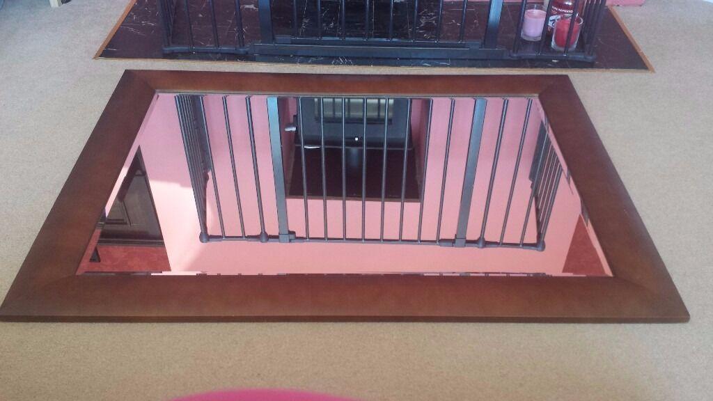 MIRROR dark wood framed mirror large big centre piece rectangular ...