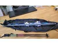 Ski's 1.8m Elan Carbon, complete with bindings and carry case. Ski poles 4ft. VGC