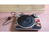 GPO Jam 3 Speed Turntable Record Player with Built-in Speakers Union Jack (portable USB turntable)