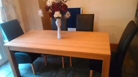 Oak Table and six leather chairs