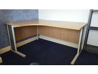 Large office desk, beechwood effect. Curve style.