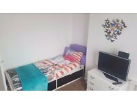 Spacious sunny room with two single beds