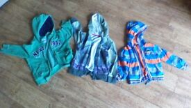 Three zip up jackets to fit boys 3-4 years old