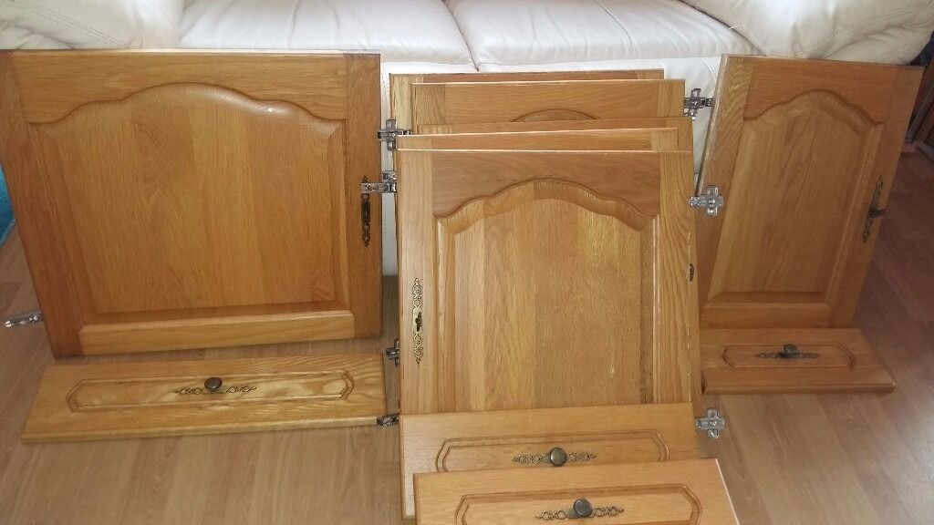 Solid light oak kitchen cupboard doors and drawer fronts for Kitchen cabinets no doors