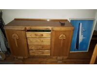 Sideboard Med oak colour 136L x 50cm w Classic 1930s 4draws 2 cupboards great carvings details.
