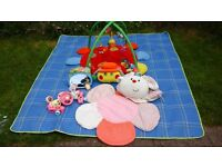 Baby gym, steering wheel, mirror and Blossom Farm Inflatable Ring
