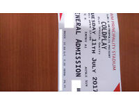 2 x Coldplay Standing Ticket for 11 July 2017 Cardiff