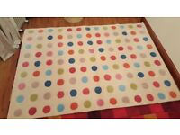 2 John Lewis rugs in cream with colourful polkadots