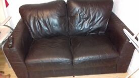 2 seater dark brown sofa