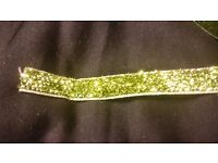 5 yards elastic Glitter ribbon green Christmas