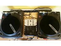 Vinyl decks x 2 and dj mixer and mic