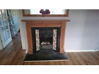 Black cast iron fireplace with pine suround!!!!!!