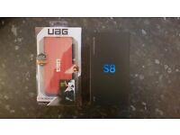 BRAND NEW SAMSUNG GALAXY S8 64GB BLACK LOCKED TO O2. WITH UAG CASE