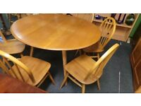 ERCOL Very Good condition drop leaf table and 6 chairs, 07448733546