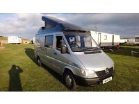 Mercedes sprinter 311 motorhome camper van pop up roof 2 owners from new leather MUST SEE