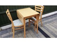 Folding dining table and chairs