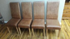 Heavy Weight Solid Oak Dining Table, and 4 Quality Crocodile Skin Chairs