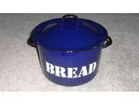 TRADITIONAL LARGE VINTAGE HEAVY ROUND BLUE ENAMEL BREAD BIN RETRO KITSCH!