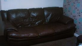 3 seater brown leather sofa , armchair and buffet. Couch settee suite