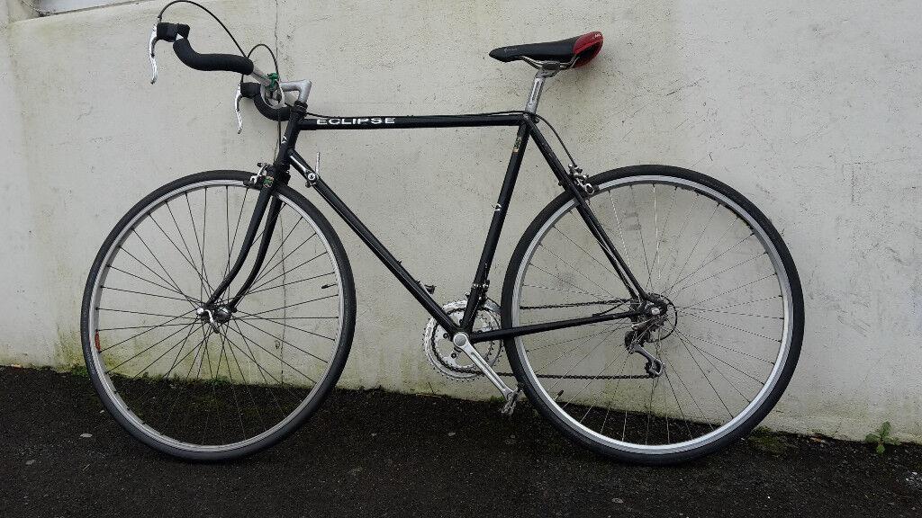 Black Eclipse Road Bike - Reynolds 531c Steel Frame - Bullhorn Bars ...