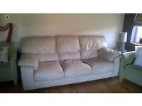 3 seater leather cream sofa free