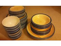 £30 42 PCE DINNER SET - YELLOW with BLUE RIM - Some chips on rims