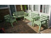 Garden set table 2 benches and chairs