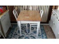 Shabby Chic Pine Kitchen Table and two Chairs