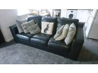 Italian black leather sofa