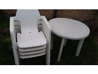 Garden table and chairs white