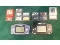 Two gameboy advances with a load of games