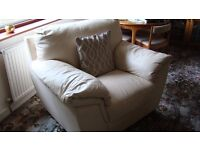Arighi Bianchi cream, soft leather 3 seater settee and matching chair.